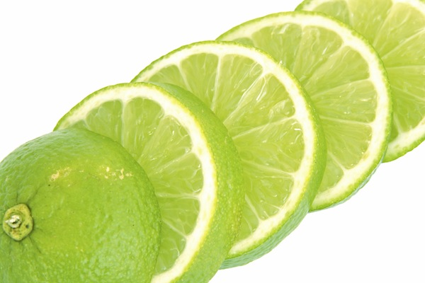 Lime slices isolated on a white background.