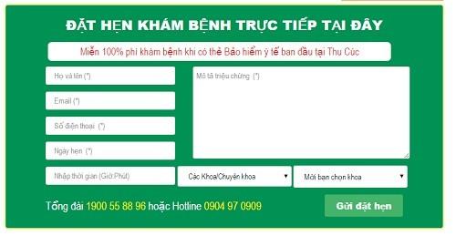Mẫu đặt lịch hẹn khám tại website của Bệnh viện Đa khoa Quốc tế Thu Cúc.