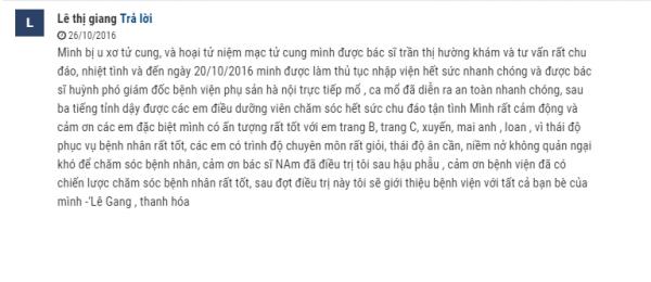 Chia sẻ chân thành của khách hàng Lê Thị Giang