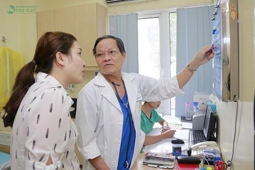 GS.TS. Trần Văn Sáng đang tư vấn về tình trạng sức khỏe cho khách hàng