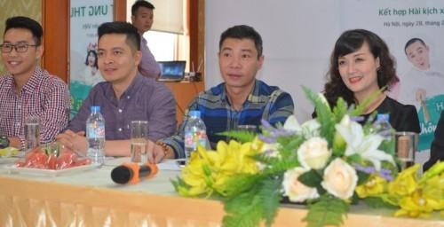 Các nghệ sĩ Công Lý, Vân Dung, Quân Anh, Minh Tít tại buổi họp báo