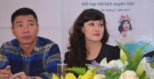 Nghệ sĩ Công Lý và Vân Dung tại buổi họp báo