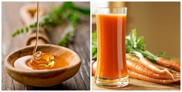 Một quả cà rốt, gọt sạch vỏ rồi ép lấy nước. Sau đó cho 2- 3 thìa mật ong vào cốc nước cà rốtvà đảo đều. Sau đó pha loãng hỗn hợp này theo tỷ lệ 1 : 1 với nước đun sôi để nguội và súc họng từ 3-5 lần mỗi ngày, mỗi lần từ 5 – 7 phút.