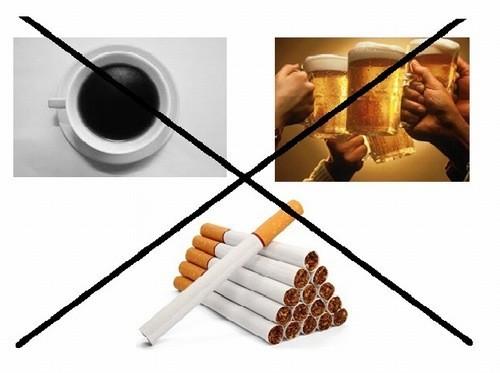 Không sử dụng thuốc lá, rượu bia, cà phê trước khi lấy máu xét nghiệm
