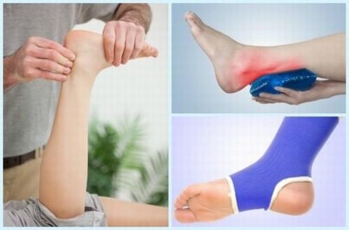 Cố định chân  và chườm lạnh để điều trị bong gân mắt cá chân