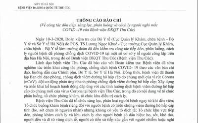 Thông cáo báo chí về việc đón tiếp, sàng lọc, phân luồng và cách ly người nghi mắc Covid 19 của BV Thu Cúc